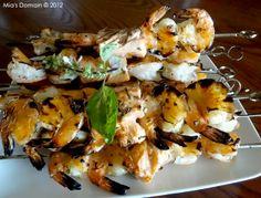 Mia's Domain | Real Food: Basil Lemon Garlic Salmon Shrimp Kebabs