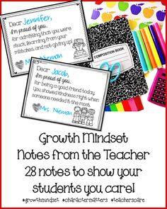 Growth Mindset praise to encourage students to work hard and persist in difficult situations.  There are also cards for just showing care and concern :-)