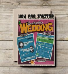 A retro 1960s style wedding invitation, based on gig posters that were really popular with Motown and Soul music. http://katiebarnesstudio.etsy.com/