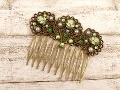 Kamee Haarkamm mit Rosen in grün weiß bronze Lolita