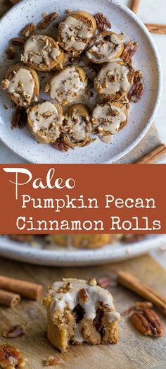 Paleo Pumpkin Pecan Cinnamon Rolls are such a delicious weekend fall breakfast! Ooey gooey with a delicious pumpkin spice cashew cream frosting. Recipe is refined sugar free grain-free and gluten-free but no one has to know! Paleo Dessert, Paleo Sweets, Dessert Recipes, Baking Desserts, Egg Recipes, Paleo Pumpkin Recipes, Cooking Recipes, Pecan Recipes, Fall Breakfast