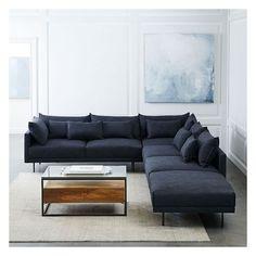 West Elm Halsey Set 3 Left Arm Sofa Armless Double Corner Ottoman