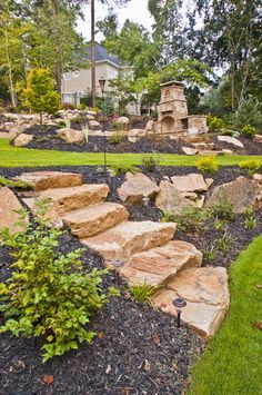 38 Amazingly Green Front-yard & Backyard Landscaping Ideas Get Basic Engineering, Home Design & Home Decor. Amazingly Green Front-yard & Backyard Landscaping Ideasf you're anything like us, y Sloped Backyard Landscaping, Landscaping Retaining Walls, Sloped Garden, Landscaping With Rocks, Landscaping Ideas, Landscaping On A Hill, Landscape Stairs, House Landscape, Landscape Design