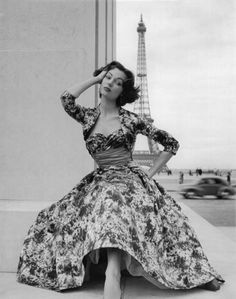 Paris Fashions <3 1953 | More fashion lusciousness here: http://mylusciouslife.com/photo-galleries/historical-style-fashion-film-architecture/ 50s dress vintage fashion floral full skirt cocktail evening dinner bolero jacket model print ad