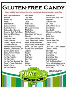 List of gluten free candies and chocolates via Powell's.  Definitely need a guideline for Halloween and Christmas.