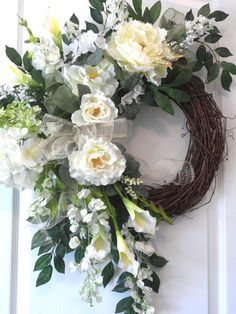 White Spring Summer Peony Wreath