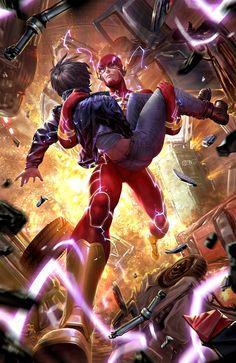 The Flash by Derrick Chew - DC Comics Comic Book Artwork Flash Comics, Dc Comics Art, Flash Art, The Flash, Comic Books Art, Comic Art, Book Art, Art Cyberpunk, Wonder Twins