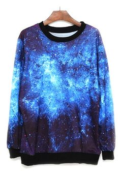 price:19.99usd Hip Hop Style Galaxy Print Loose Fitting Sweatshirt