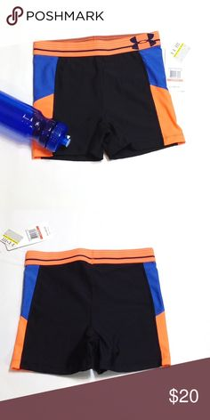 "Under Armour workout compression shorts Beautiful bright blue & orange on black. 3"" inseam. 13-15"" waist, 8 1/2"" rise, 8-10"" leg opening. Under Armour Shorts"