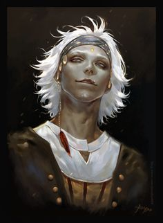 Piratical gentleman, white hair, dark, elf, man, male, white shirt, overcoat. headband.