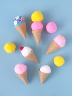 DIY Felt Ice Cream Cones by Laura Murray When I was a kid, one of my most favourite toys was play-food. I used to love playing kitchens and restaurants and had a pretty extensive collection of plastic food. I had...