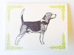 Beagle letterpress note card by BremertonLetterpress on Etsy