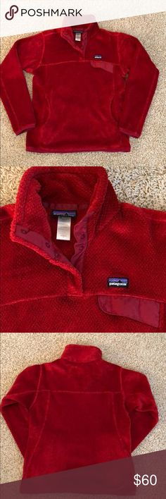 PATAGONIA WOMENS PULLOVER  SNAP T FLEECE PATAGONIA WOMENS PULLOVER SNAP T FLEECE, Size Medium, Deep pile 100% Polyester dbl fleece stand up collar for extra warmth, Pullover with pouch style hand warmer pocket, Chest Pocket w/ Nylon flap. GREAT CONDITION❤️ Patagonia Tops