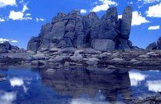 Ramshead tarn and boulders atop the Rams Head Range. Kosciuszko National Park