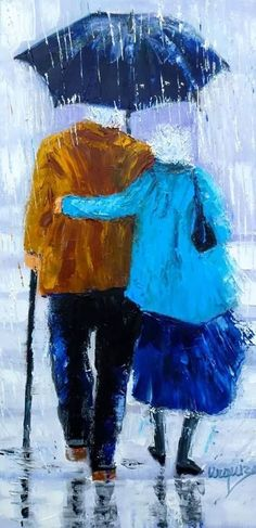 Rain Painting, Painting People, Painting & Drawing, Rain Art, Umbrella Art, Ouvrages D'art, Acrylic Art, Watercolor Paintings, Art Projects
