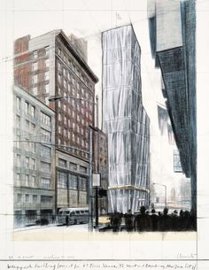 Christo  - Wrapped Building, Project for #1 Times Square, Print
