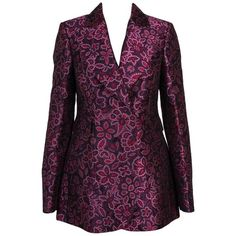 Preowned Lanvin Women Purple Silk Blend Notch Lapel Floral Jacquard... (57.375 RUB) ❤ liked on Polyvore featuring outerwear, jackets, blazers, purple, notch collar blazer, floral jacket, flower print blazer, lapel jacket and multi-color leather jackets