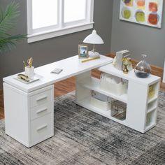 Hudson L-Shaped Desk – White – Executive Home Office Design Cool Office Desk, White Desk Office, White Desks, Home Office Space, Home Office Desks, Home Office Furniture, Office Decor, Office Ideas, Office Table