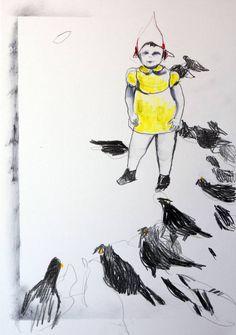"""Saatchi Art Artist Kasia Gawron; Drawing, """"Pigeons 2"""" #art"""