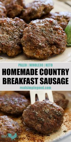 This Paleo, + Keto homemade country breakfast sausage recipe has simple . - This Paleo, + Keto homemade country breakfast sausage recipe has simple ingredients you can - Breakfast Sausage Seasoning, Homemade Breakfast Sausage, Breakfast Recipes, Paleo Breakfast, Pork Sausage Seasoning Recipe, Whole30 Breakfast Sausage, Sausage Spices, Mcdonalds Breakfast, Gourmet