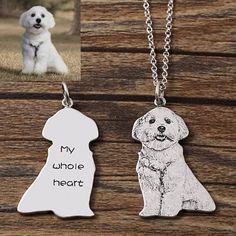 925 benutzerdefinierte Hund Portrait Halskette Pet Portrait | Etsy Picture Necklace, Dog Necklace, Engraved Necklace, Personalized Necklace, Pendant Necklace, Engraved Jewelry, Dog Jewelry, Animal Jewelry, Silver Jewelry
