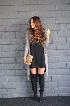 Weekend wear featuring a slip dress (and the key to buying them), a duster cardigan, OTK boots, and a leopard clutch.