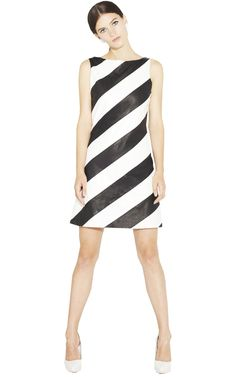 Alice + Olivia PAIGE LEATHER BOAT NECK A-LINE DRESS