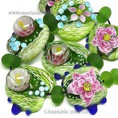 "ANASTASIA--lampwork beads--(7)--""LILY PAD""--SRA #Lampwork eBay <3<3<3BEAUTIFUL<3<3<3"