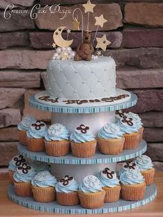 Baptism Boy Cupcake Tower by Creative Cake Designs (Christina), via Flickr by shorena ratiani
