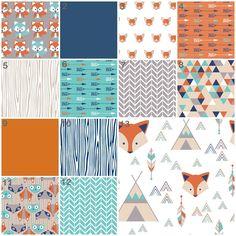 Fox Say (Modern Custom Crib Option) Baby Bedding, Crib Bedding, Orange, Navy, Mint, Turquoise, Woodland, Fox, Tribal Baby Boy Nursery by modifiedtot on Etsy https://www.etsy.com/listing/251903719/fox-say-modern-custom-crib-option-baby