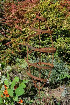 READY TO SHIP Garden Trellis, Seed Pod Art, Rustic Sculpture, Metal Art,  Garden Art, Elevated Pod
