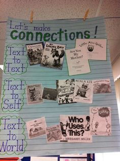 Reading and relating...love it.  From http://mrsfrankefirstgrade.wordpress.com/