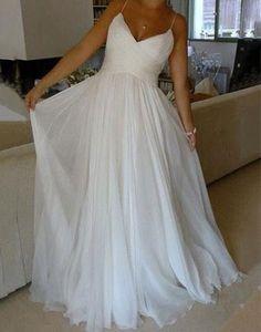 simple spaghetti straps chiffon white long prom dress, PD5577