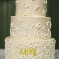 LOVE wedding cake | Zac Wolf Photography | Wedding Cake: Baked | www.theknot.com