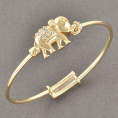 Toddler Jewelry Yellow Gold Filled Infant Childrens Crystal Elephants Bracelet #Unbranded #Bangle