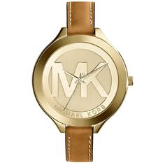 Women's Michael Kors 'slim Runway' Logo Dial Round Leather Strap... ($195) ❤ liked on Polyvore featuring jewelry, watches, michael kors, polish jewelry, logo jewelry, dial watches, michael michael kors and leather strap watches