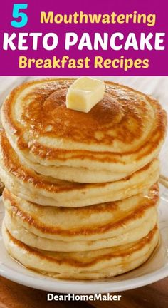 Easy Fluffy Low Carb Keto Protein Pancake Recipe (Gluten free, sugar-free and Paleo-friendly). The perfect breakfast recipe to get your daily source of protein. Easy Protein Pancakes, Tasty Pancakes, Low Calorie Pancakes, Best Keto Pancakes, Low Carb Keto, Low Carb Recipes, Quick Recipes, Fish Recipes, Pancake Proteine