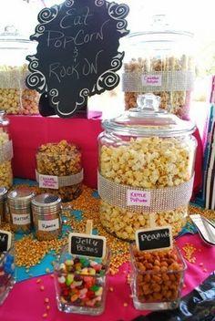 Popcorn bar  (add: custom chocolates. $7. www.customweddingprintables.com)