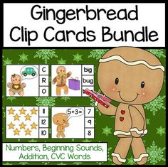 Gingerbread Man Activities: Clip Cards Bundle