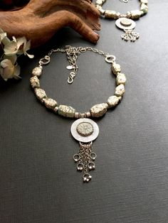 Reserved ~*~  Roman glass and widow's mite artisan fine silver necklace by Julie Crawford Of Crawford Creek Designs on Etsy