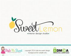 Premade Lemon Logo Fruit Logo Photography Logo Small Business Branding Watermark Design Hand Drawn