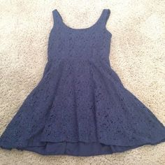 Blue Lace Dress Dark blue lace dress with an under skirt. In good condition with no stains, rips, etc Dresses