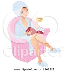 caricatura de una mujer caucsica hermosa lectura y beber caf en un spa royalty free