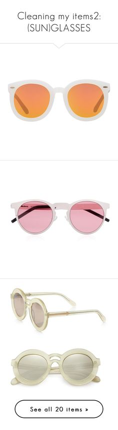 """""""Cleaning my items2: (SUN)GLASSES"""" by emilypondng ❤ liked on Polyvore featuring accessories, eyewear, sunglasses, glasses, white, mirrored lens sunglasses, round sunglasses, karen walker sunglasses, lens glasses and mirror sunglasses"""