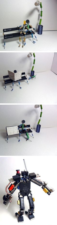 Interesting figures prepared with electronic components 2 - Electronic Circuit . Electronic Circuit Projects, Electronic Parts, Waste Art, Sculpture Metal, Arte Robot, Found Object Art, Arte Horror, Recycled Art, All Art