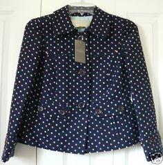Anthropologie Spot On Jacket Blazer Sizes 2 & 4, Navy, Polka Dots, Leifsdottir