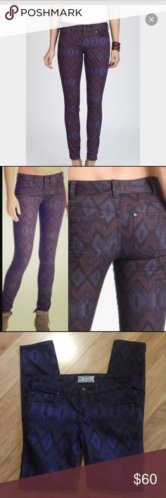 NWOT Free People Aztec skinny jeans✨ NWOT Free People Aztec skinny jeans✨size W24. Style 61855-16515125 Free People Jeans Skinny