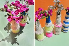 Make These Rope Bottle Vases in Under 10 Minutes! via Brit + Co.