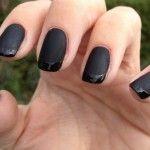 dark black nail art with matte nail polish Black Gel Nails, Black Nail Art, Dark Nails, Blue Nails, Matte Nails, Black Polish, French Nail Designs, New Nail Designs, Simple Nail Designs