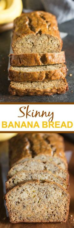 The BEST Skinny Banana bread recipe! Incredibly moist, perfectly sweet, and delicious -- you would never know it's healthier then any other banana bread! via Made with 5 bananas and halved the sugar and was still delicious! Healthy Baking, Healthy Desserts, Healthy Recipes, Diabetic Recipes, Diabetic Desserts, Healthy Meals, Healthy Food, Delicious Recipes, Healthy Snacks